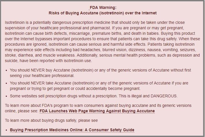 FDA Warning Against Accutane