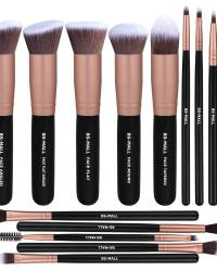 Premium 14 Pcs Synthetic Foundation Powder Concealers Eye Shadows Silver Black Makeup Brush Sets